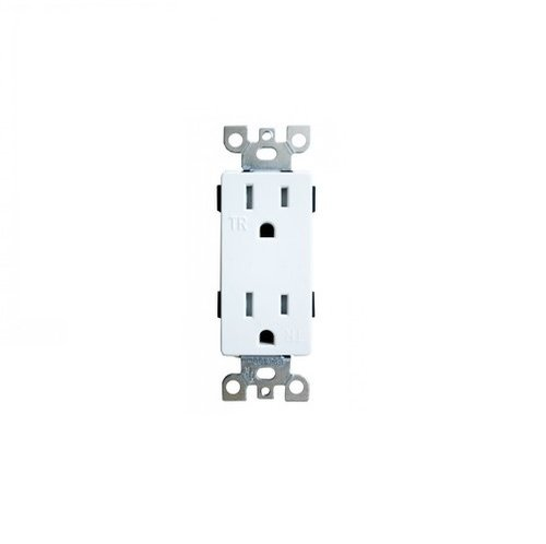 15 Amp, TR, Decora Receptacle Outlet, White