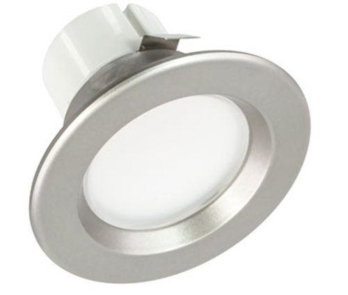 Nickel, 9W 3 Inch Round LED Retrofit Downlight, 3000K, Dimmable