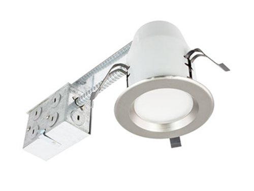 Nickel, 8W 3 Inch Round LED Retrofit Downlight, 3000K, Dimmable