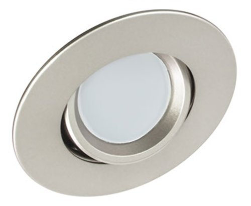 Nickel, 8W 3 Inch Round Swivel LED Downlight, 3000K, Dimmable