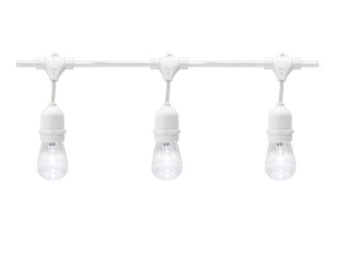 48 Foot E26 40W Max LED Suspended Cord and Plug White String Lights