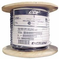 Welding Cable, 0.08'' Insulation, 2/0 AWG, 500', Black