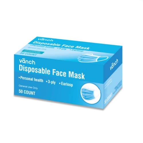 General Purpose 3-Ply Disposable Face Mask, One Size Fits All
