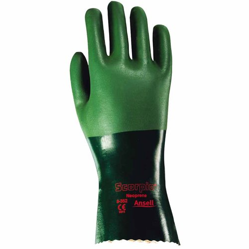 Size 10 Neoprene Rough-Coated Scorpio Gloves with Gauntlet-Style Cuff