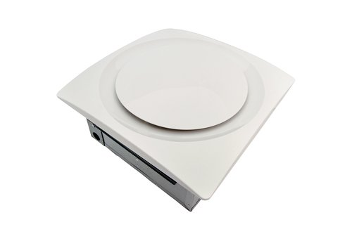 Low Profile 90 CFM 0.3 Sones Slim Fit Bathroom Ceiling and Wall Fan with Integrated Humidity Sensor and White Grille