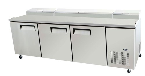 93'' Stainless Steel Pizza Prep Table Refrigerator, Two Doors