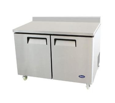 48'' Stainless Steel Two Door Work Top Freezer