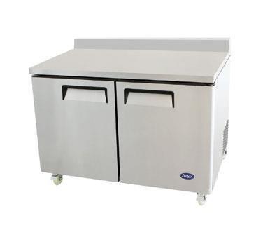 48'' Stainless Steel Two Door Work Top Freezer