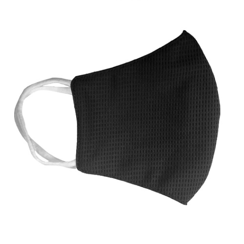 Reusable 3-Ply PPE Antimicrobial Cloth Face Mask, Elastic Strap, Black