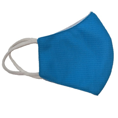 Reusable 3-Ply PPE Antimicrobial Cloth Face Mask, Elastic Strap, Blue
