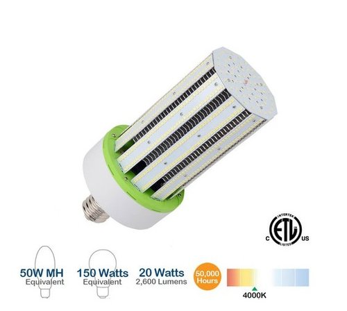 20W LED Corn Bulb, 2600 Lumens, 4000K, 150W Equivalent, E26/E39 Base Compatible