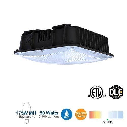 50W LED Canopy Fixture, 5000K, 5300 Lumen, 175W MH Equivalent