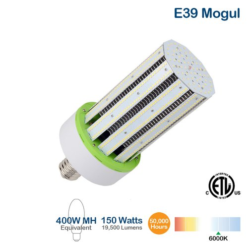 150W LED Corn Bulb, 19500 Lumens, 6000K, 400W MH Equivalent, External Driver