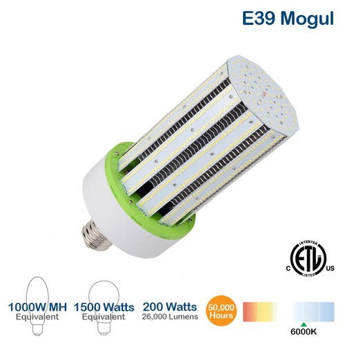 200W LED Corn Bulb w/ External Driver, 26000 Lumens, 6000K, 1500W Equivalent