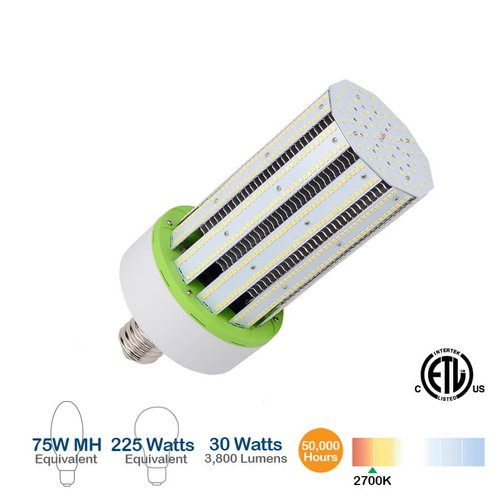 30W LED Corn Bulb, 3800 Lumens, 2700K, 225W Equivalent