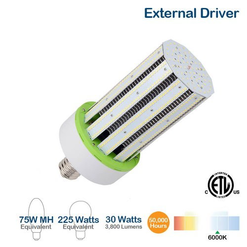 30W LED Corn Bulb w/ External Driver, 3800 Lumens, 6000K, 225W Equivalent