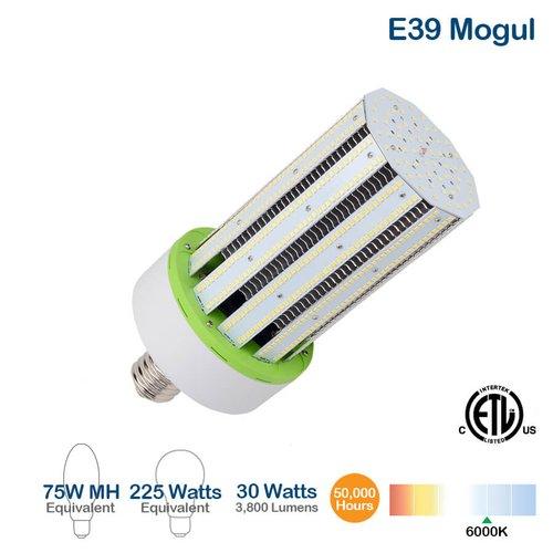 30W LED Corn Bulb, E39 Base, 3800 Lumens, 5700K, 225W Equivalent