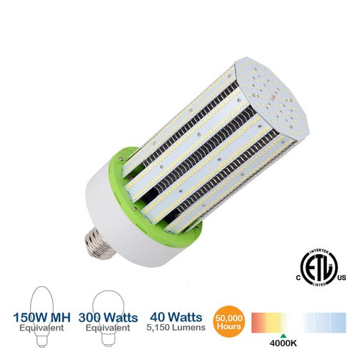 40W LED Corn Bulb, 150W MH Replacement, 5200 Lumens, 4000K