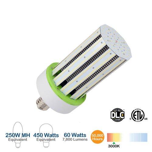 3000K, 60W LED Corn Bulb, 7800 Lumens, 450W Equivalent