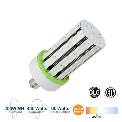 4000K, 60W LED Corn Bulb, 7800 Lumens, 450W Equivalent