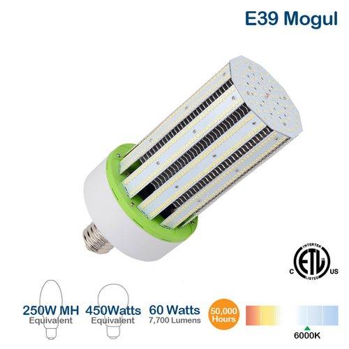 60W LED Corn Bulb, E39 Base, 7700 Lumens, 6000K, 450W Equivalent