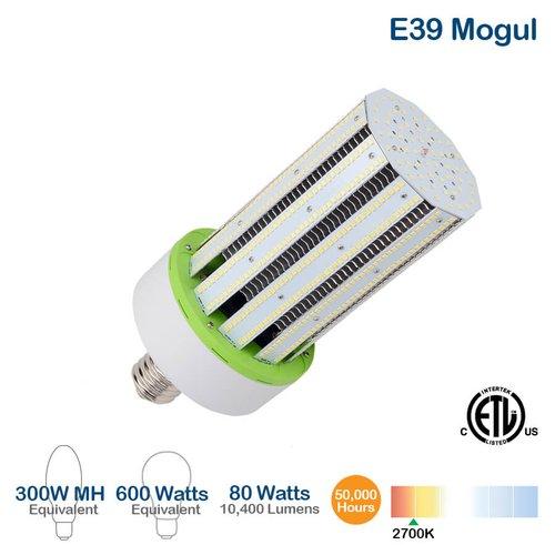 80W LED Corn Bulb, 10400 Lumens, 2700K, 600W Equivalent