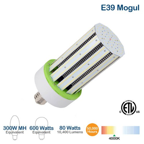 80W LED Corn Bulb, 175W MH Replacement, 10400 Lumens, 4000K