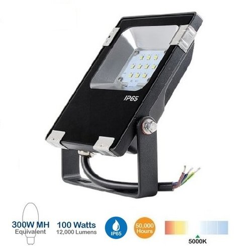 100W LED Flood Light w/Photocell, 350W MH Replacement, 12500 Lumens