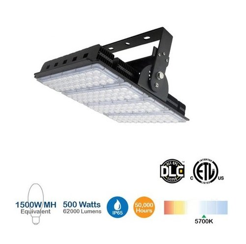 500W LED High Bay Sports Light, 2000W MH Replacement, 62500 Lumens
