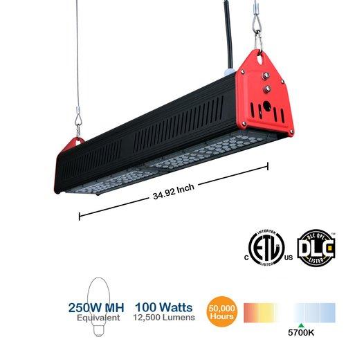 100W LED Linear High Bay Shop Light, 250W MH Equivalent, 12500 Lumen, 5700K