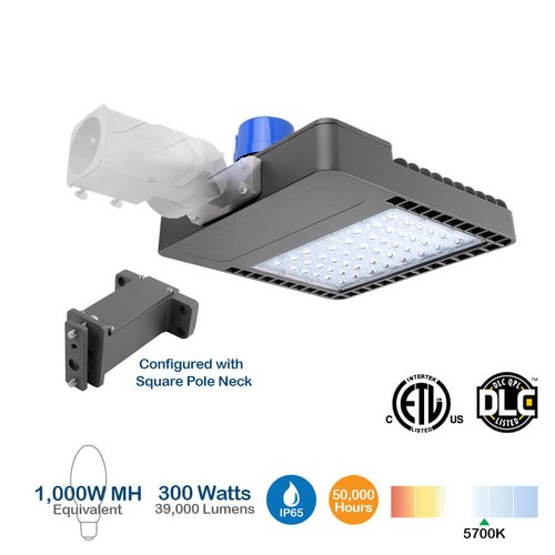 150W Shoebox LED Pole Light with Photocell, 400W MH Equivalent, 19950 Lumens