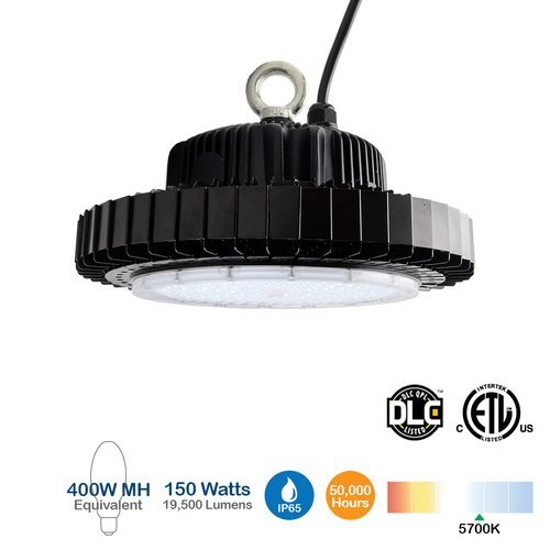 19500 Lumens, 150W LED High Bay Light, Dimmable, 5700K, 400W MH Equivalent