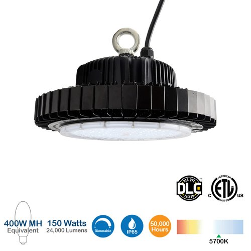 150W LED High Bay Light, 24000 Lumens, Dimmable, 5700K, 400W MH Equivalent