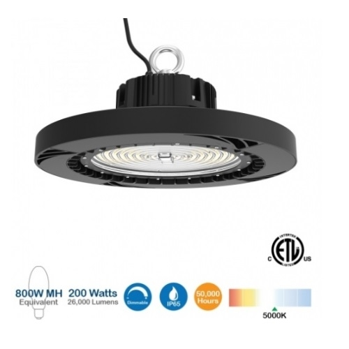 800W HPS//HID Equiv. 200W LED Dimmable UFO High Bay Light Warehouse Shop Light