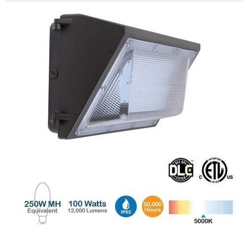 100W LED Wall Pack, 250W MH Replacement, 12000 Lumens