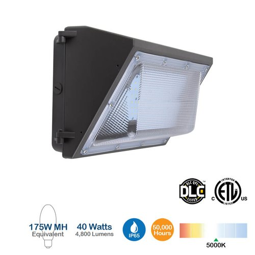 40W LED Wall Pack, 4800 Lumens, 5000K, 175W Equivalent