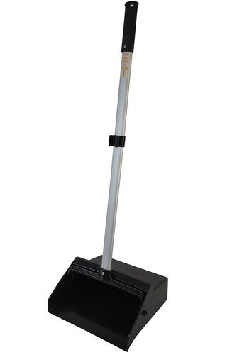 Plastic/Aluminum Lobby Dust Pan with 34'' Handle Black/Silver