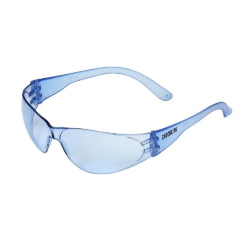 Checklite Hard Coat Safety Glasses, Polycarbonate, Light Blue Lens & Frame