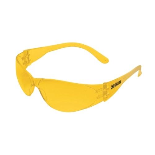 Checklite Hard Coat Safety Glasses, Polycarbonate, Amber Lens & Frame