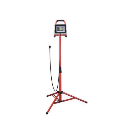 20W LED Work Light Tripod w/ 6-ft Cord & Magnetic Base, 2000 lm, 120V, 5000K, Red