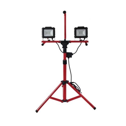 40W LED Work Light Tripod w/ 10-ft Cord, Dual Head, 4000 lm, 5000K, Red