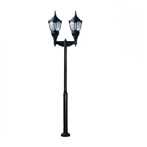 Dabmar 120w Two Light Dark Sky Top Acorn Led Lamp Post Fixture W Pc Lens Black