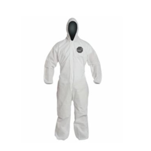 Coveralls with Attached Hood, White, 2XL