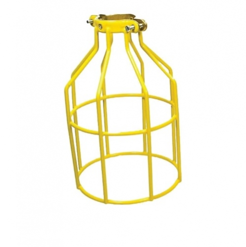 Yellow Metal Bulb Cage with Vinyl Coating
