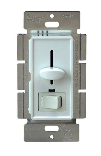 Ivory Three-Way Back Light Incandescent Slide Dimmer Control w/ Switch