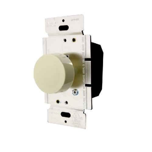 Light Almond 3-Way Lighted Incandescent Full Rotary Dimmer w/ Push On/Off