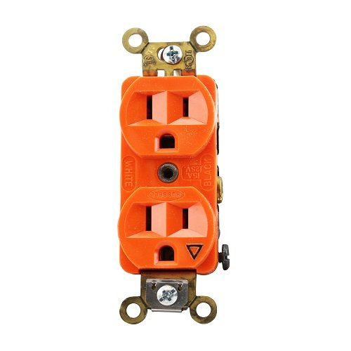 Enerlites Orange Colored Isolated Ground 15a Duplex Receptacle
