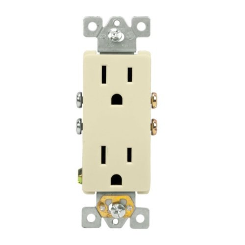 Almond Push-In and Side Wired Decorator Residential Grade 15A Receptacle