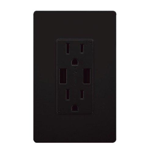 Black Tamper Resistant 2 USB Port Charger 15A Receptacle