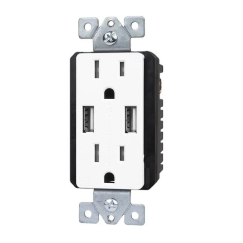 Interchangable Dual USB Charger 15A Duplex Tamper Resistant Receptacle